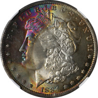 1884-O MORGAN SILVER DOLLAR RAINBOW TONING NGC MINT STATE 65 SUPERB EYE APPEAL