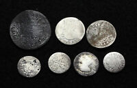 SPAIN. LOT OF 7 COLONIAL PERIOD SILVER REAL DENOMINATIONS