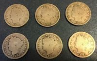 1890'S LIBERTY NICKELS 1890, 1891, 1892, 1893, 1895, 1897 - 6 COINS LOT 21