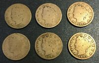 1890'S LIBERTY NICKELS 1890, 1891, 1892, 1893, 1895, 1897 - 6 COINS LOT 22