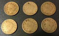 1890'S LIBERTY NICKELS 1890, 1891, 1892, 1893, 1895, 1897 - 6 COINS LOT 23