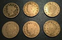 1890'S LIBERTY NICKELS 1890, 1891, 1892, 1893, 1895, 1897 - 6 COINS LOT 26