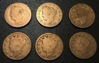 1890'S LIBERTY NICKELS 1890, 1891, 1892, 1893, 1895, 1897 - 6 COINS LOT 27