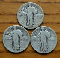 3 1929-D STANDING LIBERTY QUARTERS CIRCULATED