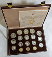 1984 OLYMPIC   SARAJEVO SILVER & GOLD PROOF SET   18 COIN  0.69 AGW 7.88 ASW