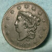1817 CORONET HEAD LARGE CENT SHARP AU   US COIN