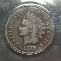 1877 INDIAN HEAD PENNY ANACS CERTIFIED GOOD 4 DETAILS   US C