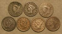 7 PIECE CORONET HEAD & BRAIDED HAIR LARGE CENT US COIN LOT 1