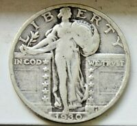 ANTIQUE 1930 STANDING LIBERTY QUARTER US COIN 90 SILVER GREAT SHAPE