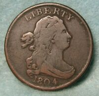 1804 DRAPED BUST HALF CENT FINE    US COIN