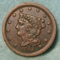 1855 BRAIDED HAIR HALF CENT XF DETAILS   US COIN