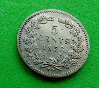 SUPER  TONED  GEF  1850  SILVER  5 CENTS   FROM  CANADA ..LU