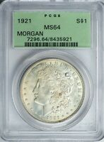 1921 MORGAN PCGS MINT STATE 64 SILVER DOLLAR OLD GREEN HOLDER OGH