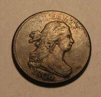 1806 DRAPED BUST HALF CENT PENNY   FINE CONDITION / ROTATED