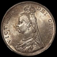 1890 GREAT BRITAIN DOUBLE FLORIN 4 SHILLINGS SILVER COIN   NGC MS 62   KM 763
