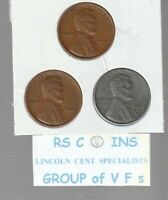 1943S &  1944S  &  1945S       FINES    LINCOLN  CENT  3  COIN  SET