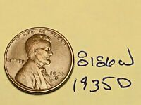 1935-D 1C BN LINCOLN CENT WHEAT CENT 8186W VG