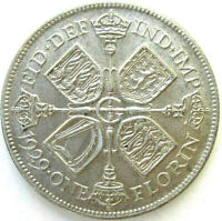 GREAT BRITAIN UK COINS ONE FLORIN 1929 GEORGE V SILVER 0.500