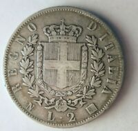 1863 ITALY 2 LIRE   HARD TO FIND VINTAGE SILVER COIN   LOT 9