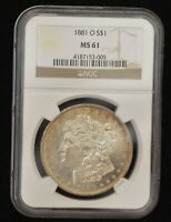 1881-O NGC MINT STATE 61 UNCIRCULATED MORGAN SILVER DOLLAR, SHIPS FREE