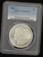 1886 PCGS MINT STATE 64 PLPROOF LIKE UNCIRCULATED MORGAN SILVER DOLLAR, SHIPS FREE