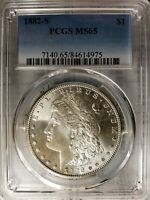 PCGS 1882 S MINT STATE 65PCGS MORGAN SILVER DOLLAR BRILLIANT GOLD TONED REVERSE GEM BU