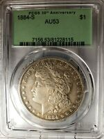 SEE PICS 1884-S PCGS AU53 MORGAN SILVER DOLLAR OGH TONED LOOKS SEMI PL A COIN