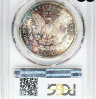 1890-S PCGS MORGAN SILVER DOLLAR SILVER COIN MINT STATE 63 COLOR MONSTER RAINBOW TONED