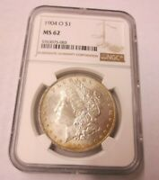 1904-O MORGAN DOLLAR NGC MINT STATE 62 083 REV RAINBOW TONING
