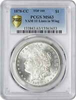 1878-CC VAM 11 MORGAN SILVER DOLLAR LINES IN WING MINT STATE 63 PCGS