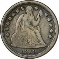 1859-O LIBERTY SEATED SILVER DIME, EF, UNCERTIFIED