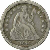 1842-O LIBERTY SEATED SILVER DIME, EF, UNCERTIFIED