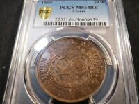 F183 PORTUGAL AZORES 1866 20 REIS PCGS MS 64 RED BROWN