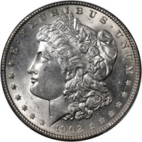 1902-P MORGAN SILVER DOLLAR PCGS MINT STATE 62 BRIGHT WHITE GREAT EYE APPEAL