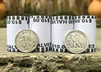 WALKING LIBERTY 90  SILVER COIN AND  &  BANK SEALED HALF DOLLAR COIN ROLL