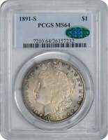 1891-S MORGAN SILVER DOLLAR MINT STATE 64 PCGS CAC COLORFUL RAINBOW HIGHLIGHTS TONED