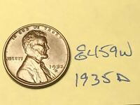 1935-D 1C BN LINCOLN CENT WHEAT CENT 8459W VF - EF