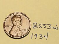 1934 1C BN LINCOLN CENT 8553W WHEAT CENT EF