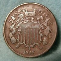 1866 TWO CENT PIECE XF    US COIN