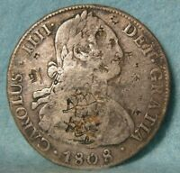 1808 PJ BOLIVIA 8 REALES WORLD / FOREIGN SILVER COIN / CROWN