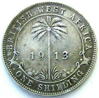 BRITISH WEST AFRICA COINS ONE SHILLING 1913 GEORGE V SILVER