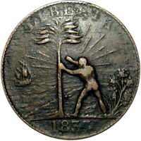 1833 LIBERIA FREED SLAVE COLONY CENT HARD TIMES TOKEN CH 5
