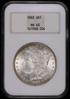 1883 MORGAN SILVER DOLLAR COIN EDGE TONING OLD FAT HOLDER NGC MINT STATE 63 948004