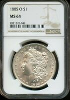 1885-O NGC MINT STATE 64  MINT STATE 64  UNITED STATES SILVER MORGAN DOLLAR COIN DA226