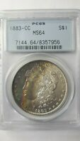 1883 CC MORGAN DOLLAR PCGS MINT STATE 64 RAINBOW TONING MIN 4 COLORS