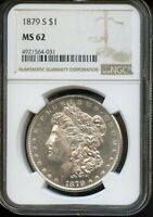 1879-S NGC MINT STATE 62  MINT STATE 62  UNITED STATES SILVER MORGAN DOLLAR COIN DA241