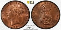 Y1 GREAT BRITAIN 1857 FARTHING PCGS MS 64 RED BROWN