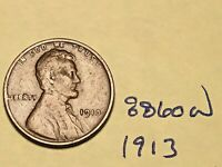 1913 1C BN LINCOLN CENT 8860W WHEAT CENT VG - F