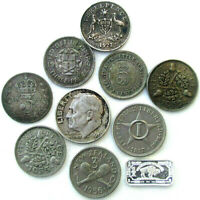 WORLD COINS LOT OF 9 COINS INCLUDING 7 SILVER & ONE GRAM SIL