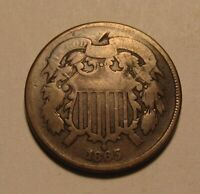 1865 TWO CENT PENNY   CIRCULATED CONDITION   185SU